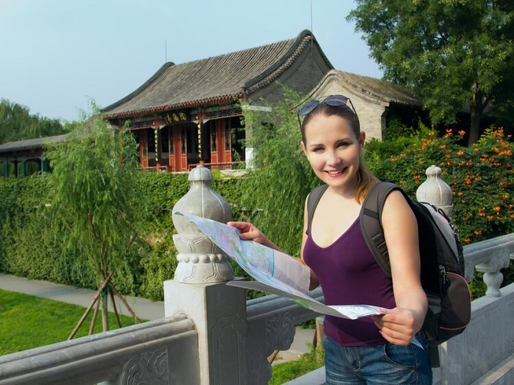 Foreign woman in China
