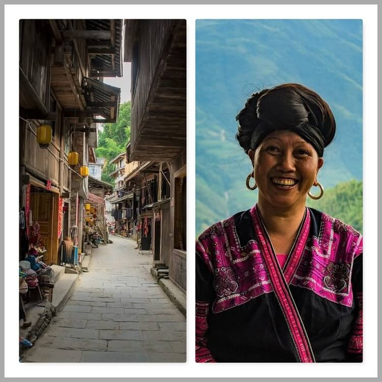 Traditional Yao woman and village in Yangshuo