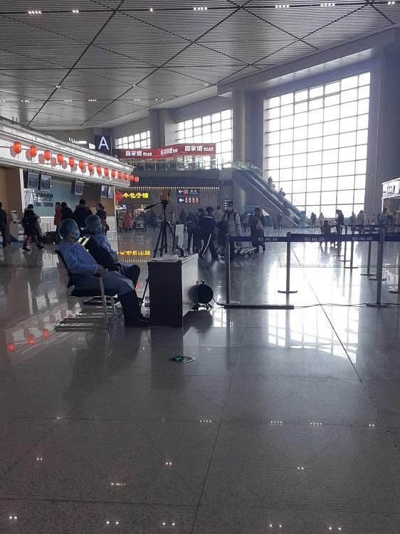 Empty airport in Harbin China due to coronavirus