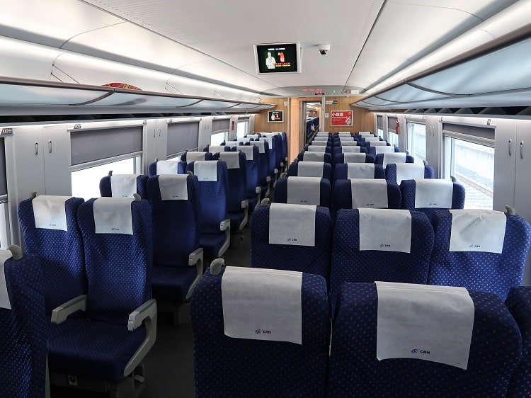 Empty bullet train in China