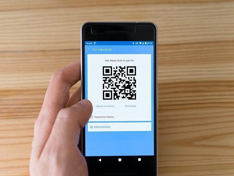 Alipay bar code on phone