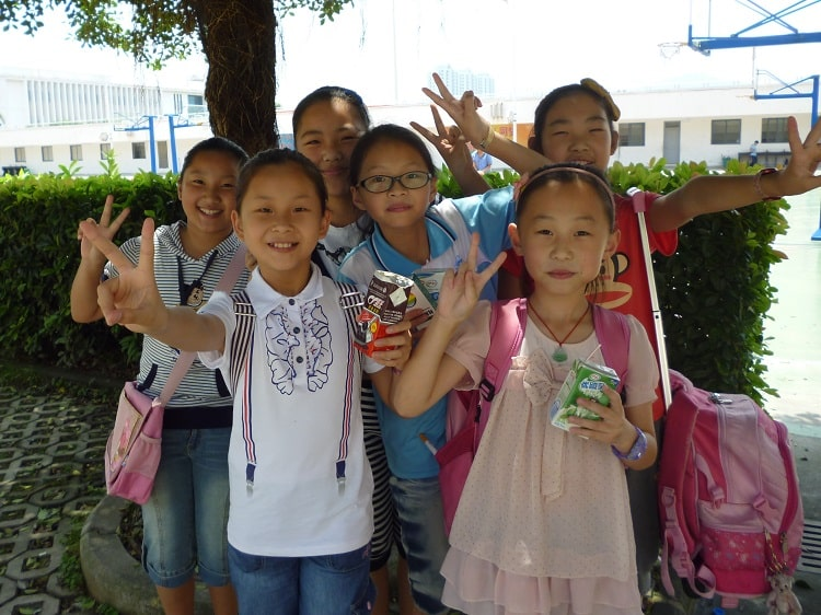 Female elementary school students in China