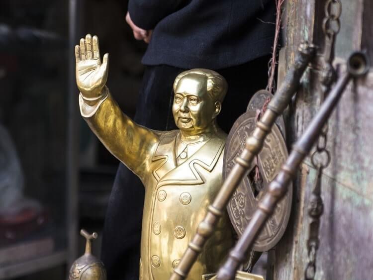 Small brass Mao Zedong statue