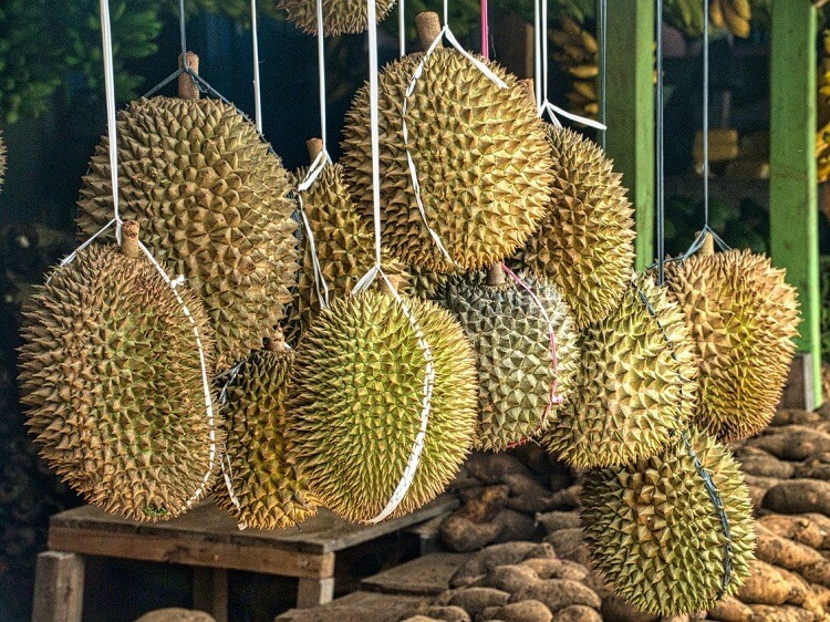 Durian hanging in a Chinese market