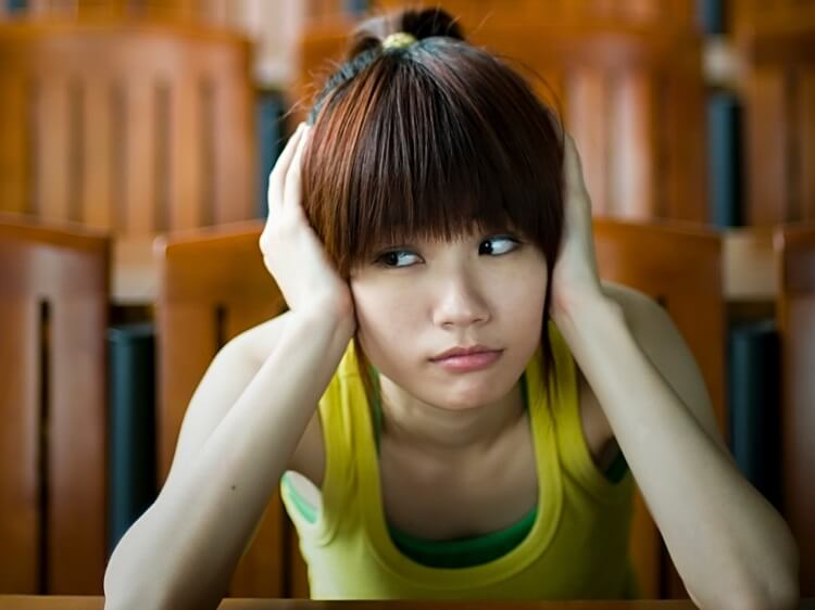 Unhappy Chinese girl