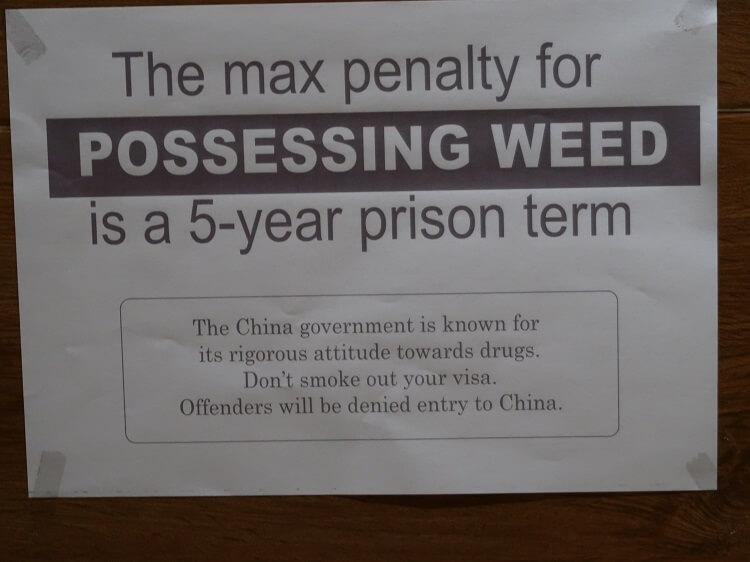 Drug warning sign China