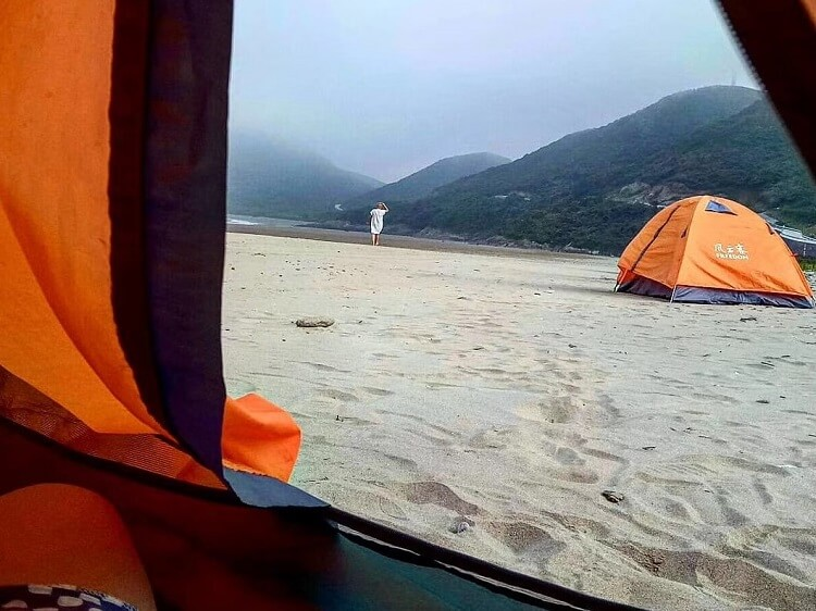 Camping on a Chinese beach