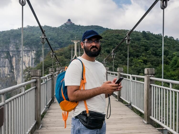 Tourist using an app in China