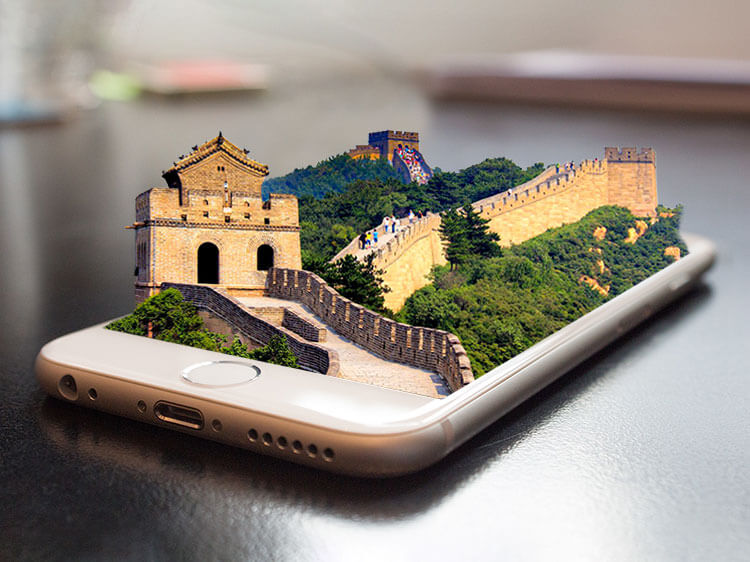 Great Wall of China on mobile phone