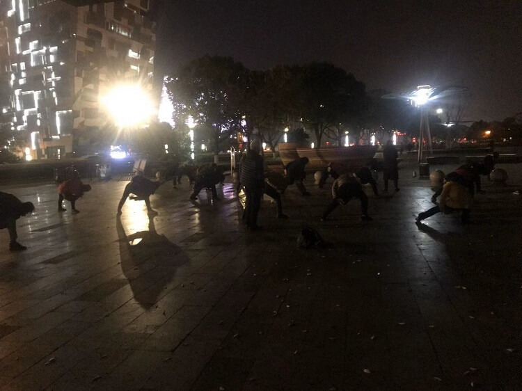 Square dancing at night in China