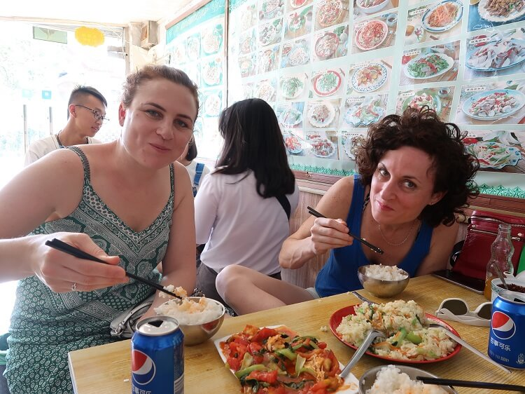 Vegetarian foreign women eating in China