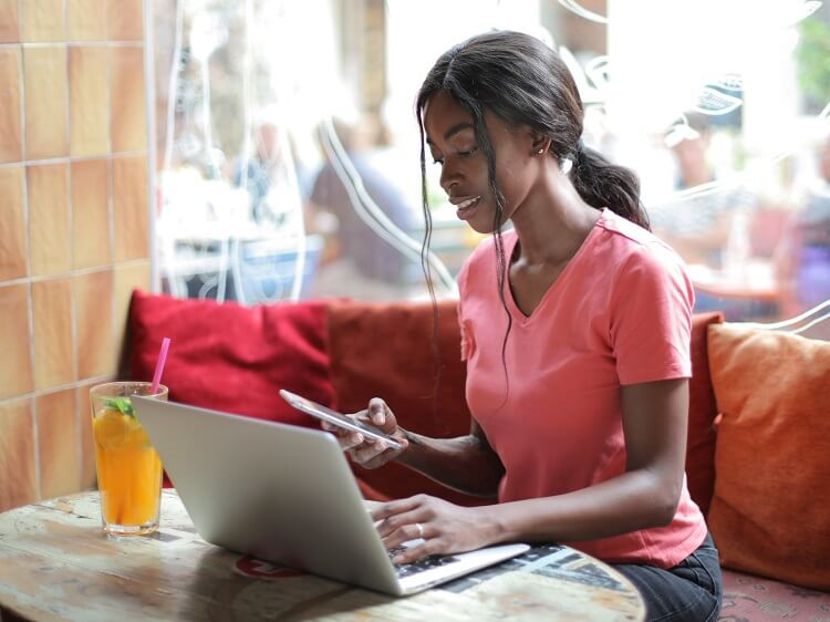 Woman using VPN while traveling