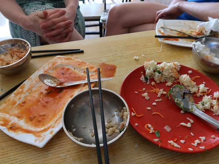 Empty food plates in China