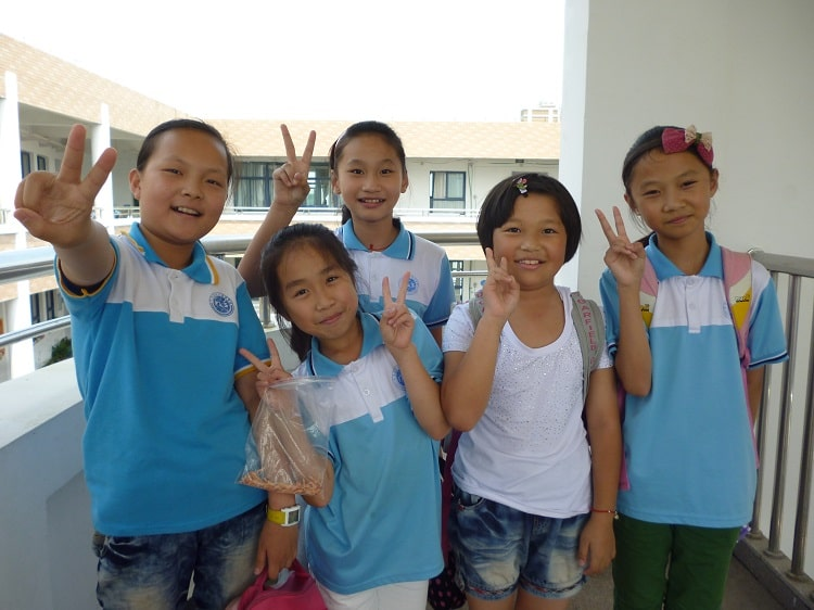 Happy school kids in China
