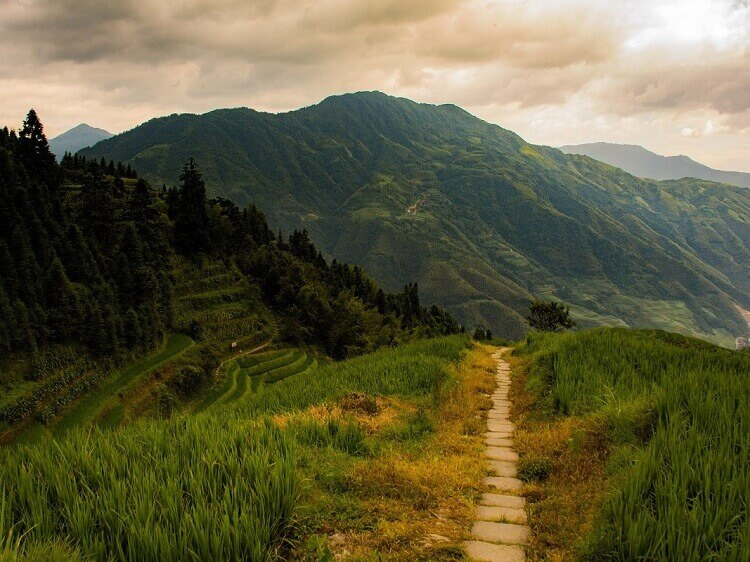 Hiking at Longji Rice Terraces