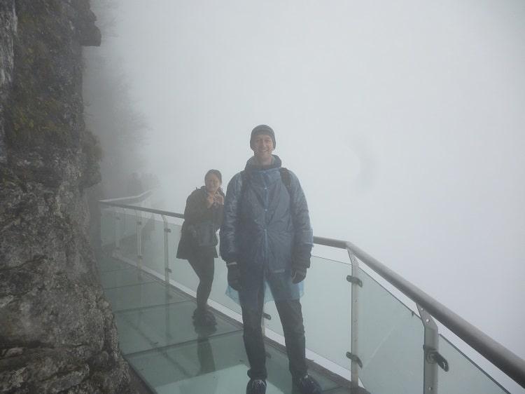 Zhangjiajie glass bridge in mist
