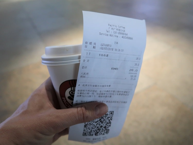 Pacific Coffee cup and receipt