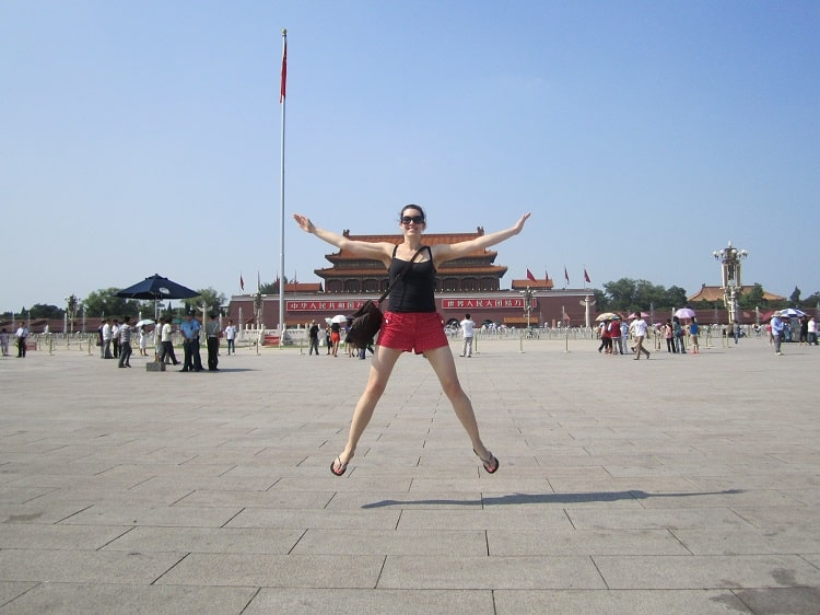 Tourist jumping in Tiananmen Square