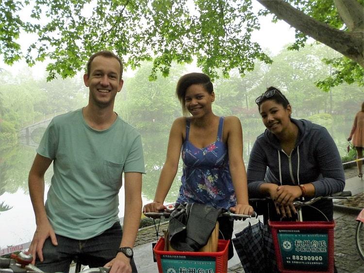Tourists on bikes in Hangzhou