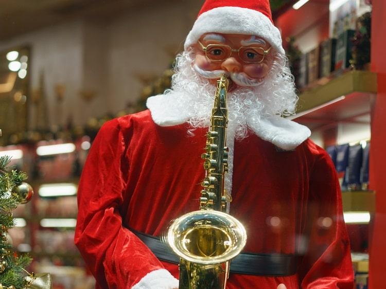 Santa Claus playing saxophone