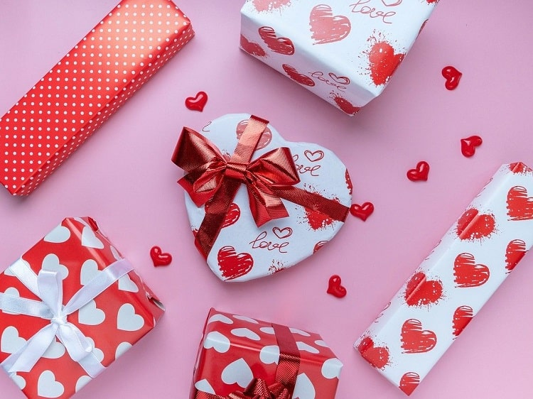Presents wrapped in heart paper