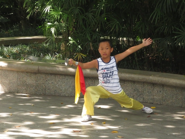 Chinese kid doing martial arts