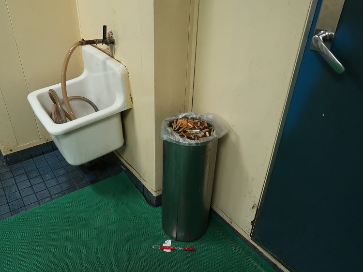 Ash tray in Chinese toilets