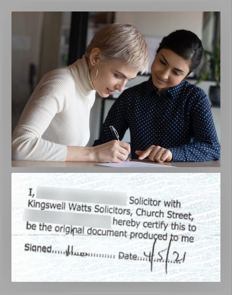 Solicitor certifying document for China