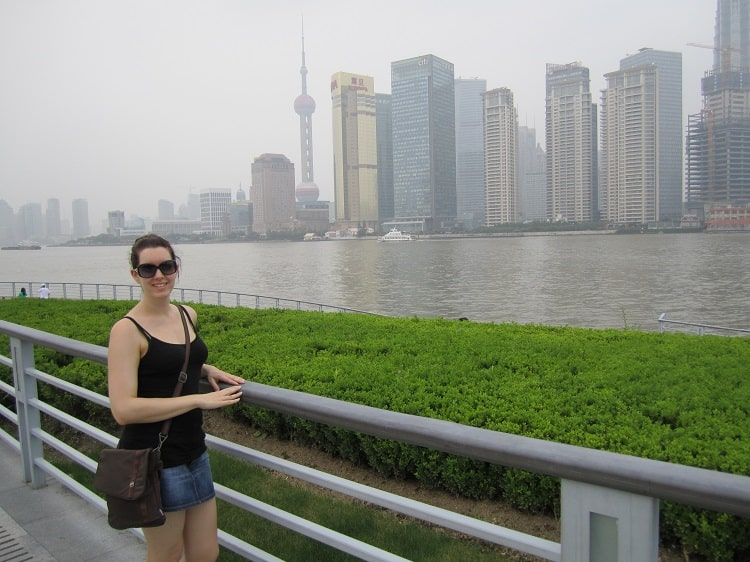 Tourist on Huangpu River Shanghai