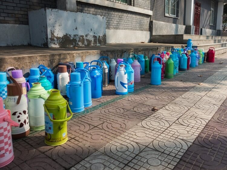 hot water bottles on the ground in China