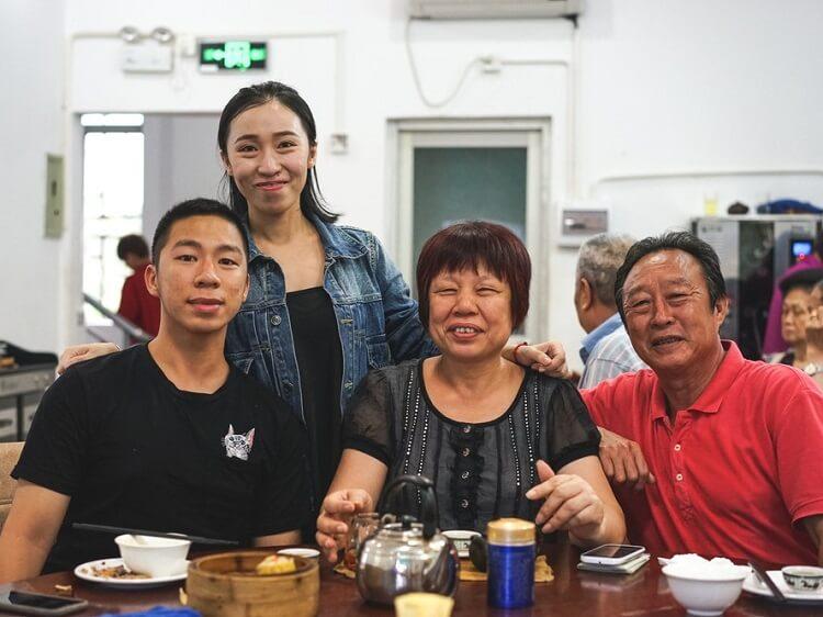 Chinese family celebrating Mid-Autumn Festival