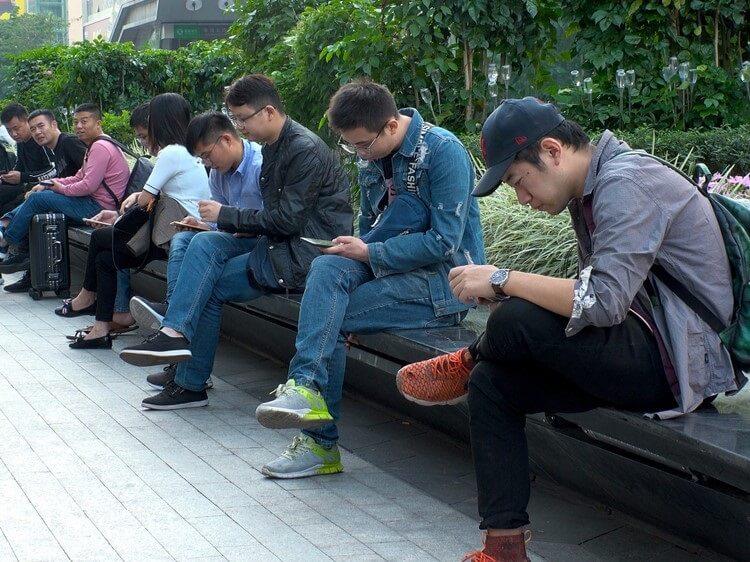 Chinese guys using apps