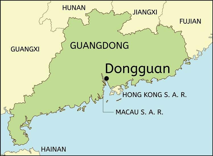 Dongguan Guangdong map