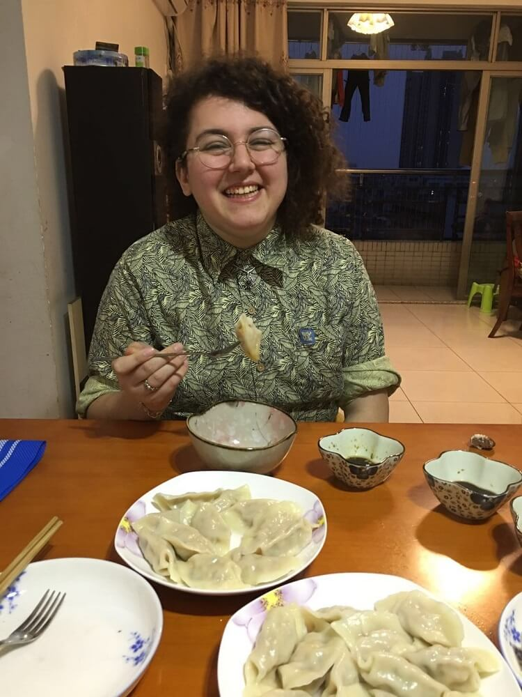 Teacher eating dumplings in Dongguan