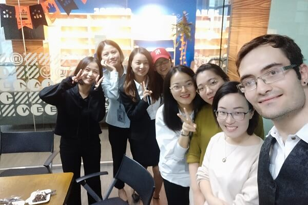 Group of Chinese girls with foreigner